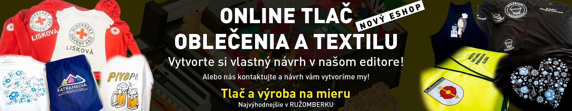 Online tlač oblečenia, tričiek a textilu, Tlač ružomberok, FatraMedia reklamná agentúra